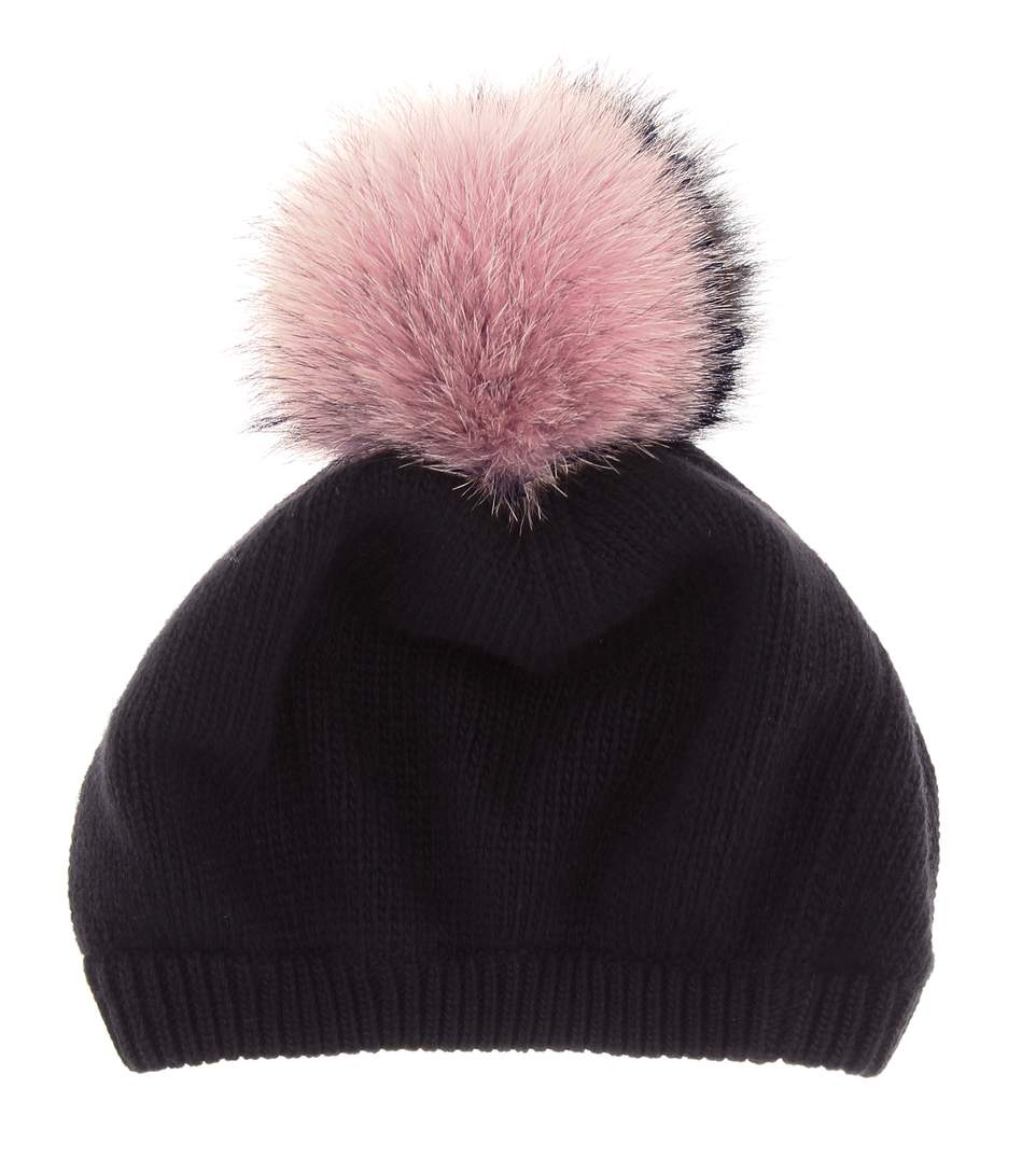 Wool And Cashmere Hat With Fur Pompom in Black
