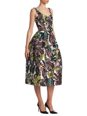 Scoop-Neck Sleeveless Jungle & Monkey-Print Tea-Length Dress, White-Multi