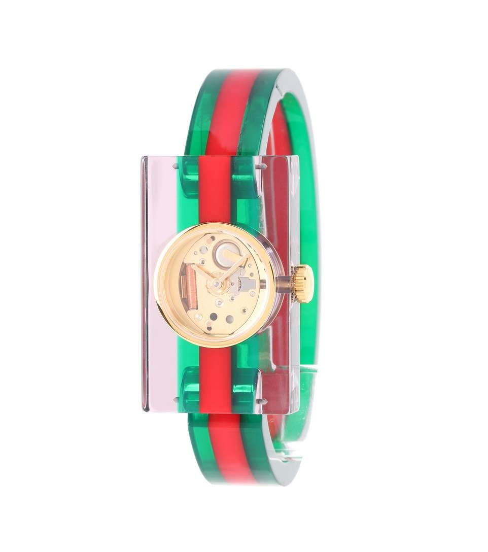 Embellished Plexiglas&Reg; Watch, Green And Red Web