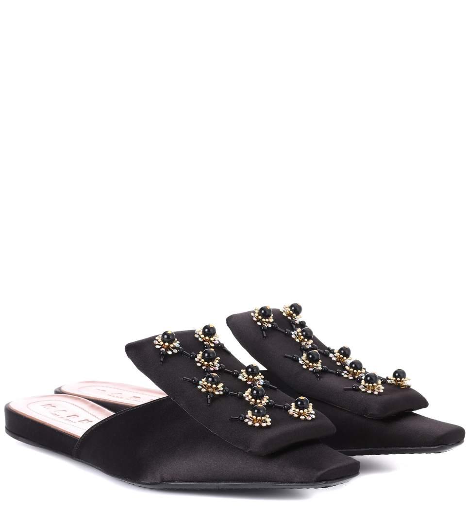 Embellished Satin Slipper Shoes, Black