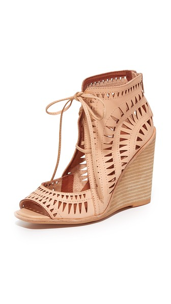 Rayos Perforated Wedge Sandal, Nude Leather