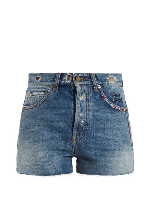 SAINT LAURENT Slim Embroidered Shorts In Vintage Blue Denim in Vietage Llue