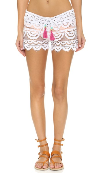 PILYQ Lexi Embroidered-Lace Coverup Shorts in White