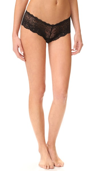 LES COQUINES Evi Lace Cheeky Briefs in Noir