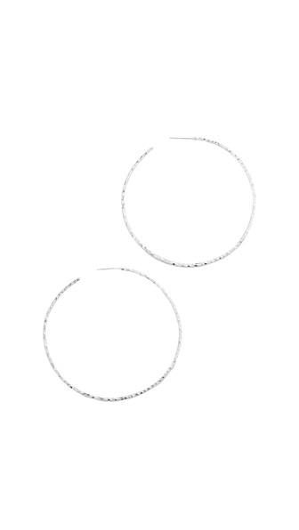 Taner Extra Large Hoop Earrings, Silver