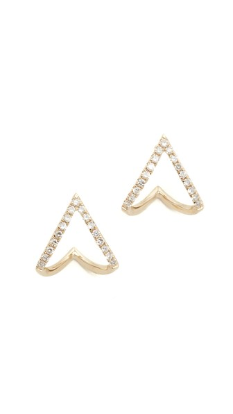 EF COLLECTION 14K Gold Mini Chevron Wrap Stud Earrings With Diamonds in Gold/Clear