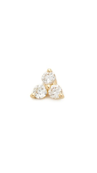 EF COLLECTION Diamond Trio Single Stud Earring in Gold
