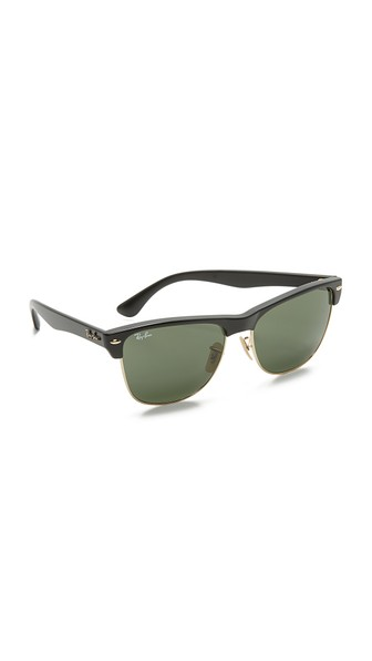 Ray-Ban Clubmaster Oversized Black Square Sunglasses - Rb4175 in Black/Crystal Green