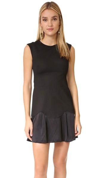 Stacy Contrast Skirt Dress, Black