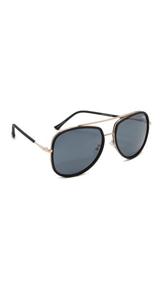 QUAY Women'S Needing Fame Brow Bar Aviator Sunglasses, 60Mm in Black/Smoke