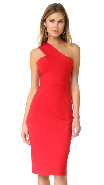 SUSANA MONACO Tina One Shoulder Dress in Perfect Red