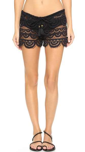 PILYQ Lexi Embroidered-Lace Coverup Shorts in Black