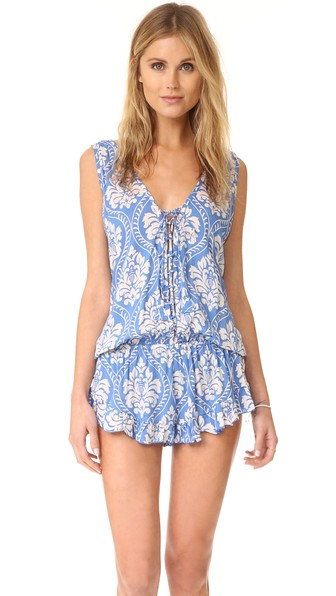 TIARE HAWAII Barrier Reef Romper in Blue/White