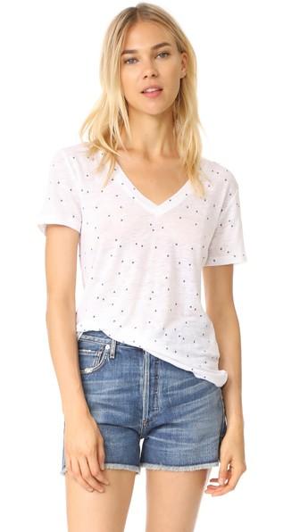 Cara Cherry-Print Linen Short-Sleeve Tee, White With Navy Stars