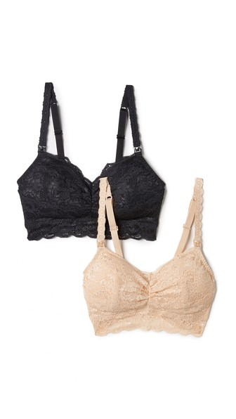 Never Say Never Mommie Set Of Two Stretch-Lace Nursing Bras in Sand