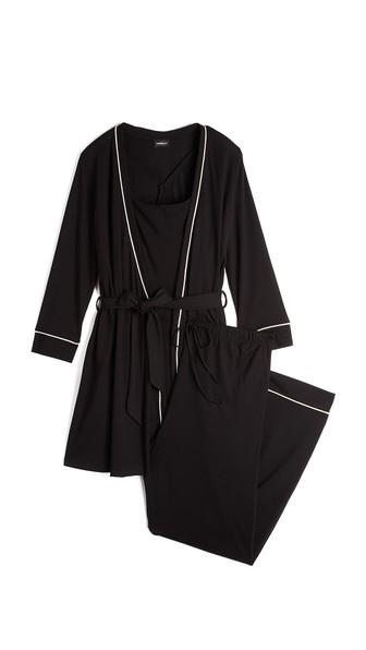 Bella 3-Piece Maternity Pajamas, Black/Ivory