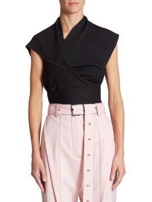 Proenza Schouler Woman Asymmetric Draped Stretch-knit Wrap Top Black Size S Proenza Schouler g04Ax8