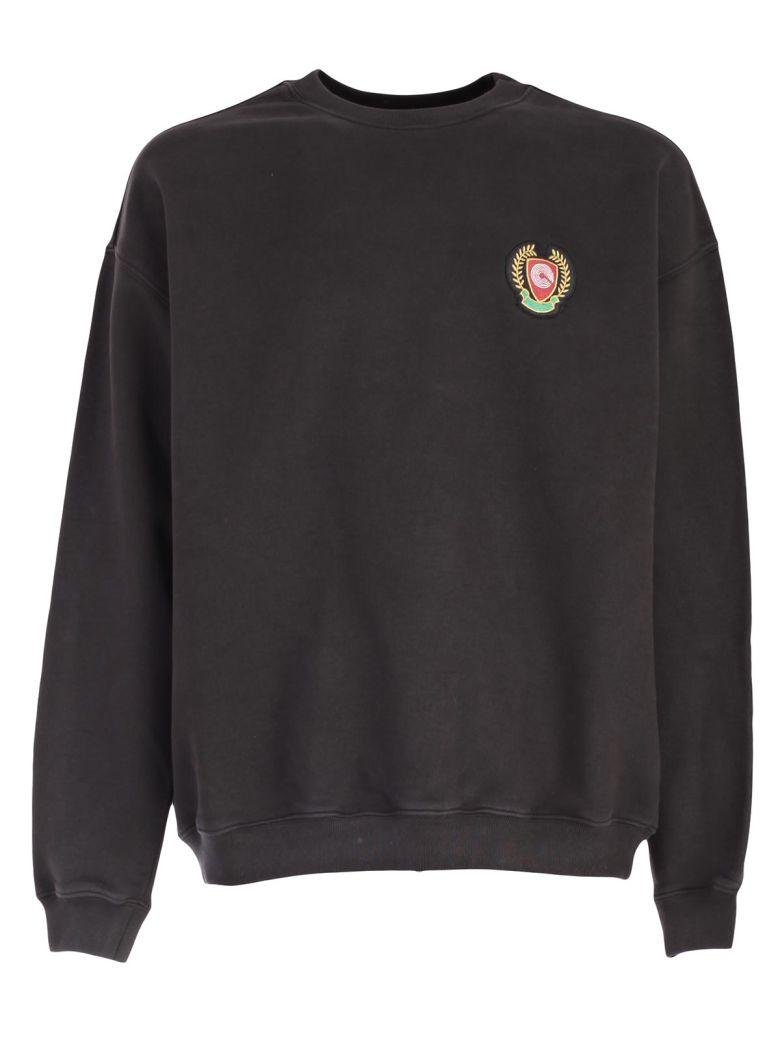 'Calabasas' Print Shield Patch Oversized Sweatshirt in Black