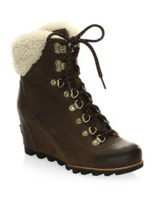 SOREL WomenS Conquest Waterproof Leather Shearling Lace Up Wedge Booties Tobacco