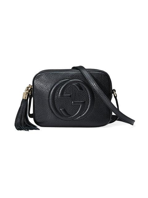 Soho Grained-Leather Cross-Body Bag in Black