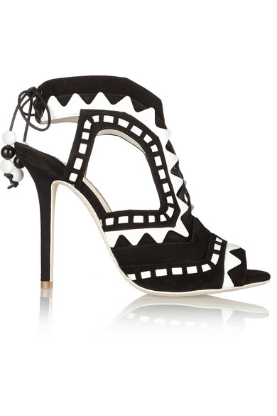 Riko Cutout Patent-Leather And Suede Sandals in Black