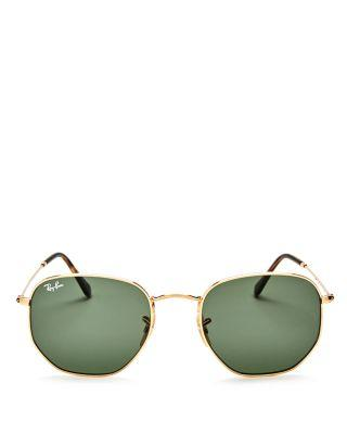 Ray-Ban Unisex Icons Hexagonal Sunglasses, 54Mm in Gold/Green
