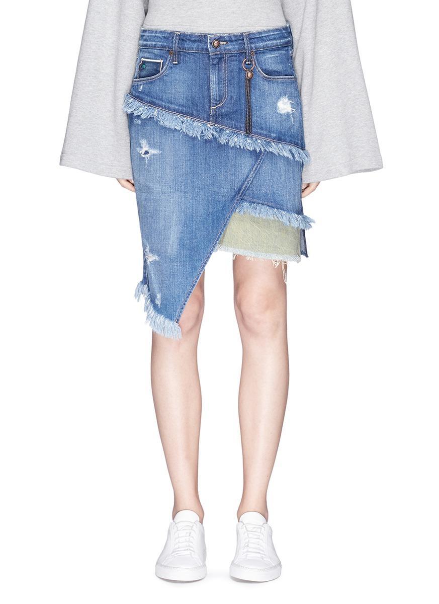 TORTOISE 'Elseya' Distressed Asymmetric Layered Denim Skirt in Dark Med Blue