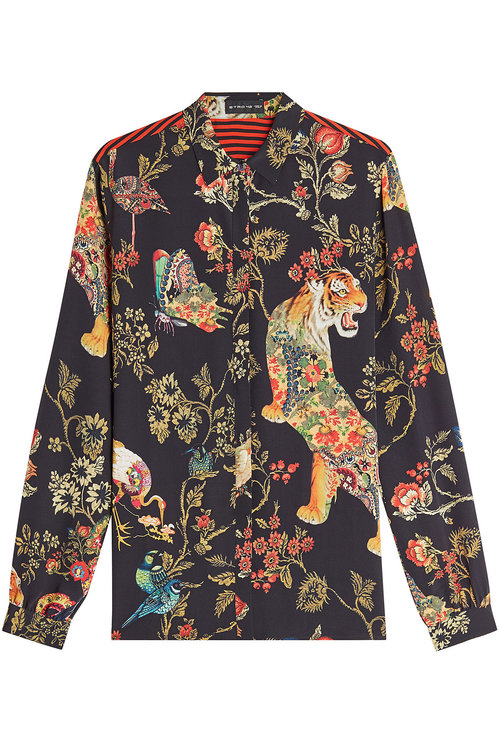 ETRO Striped Floral Print Blouse in Black