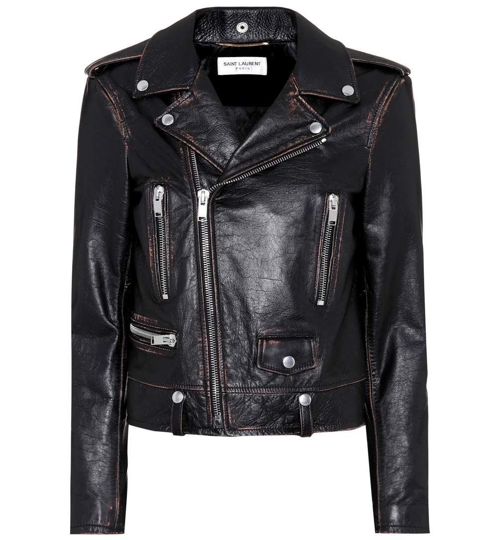 Distressed Leather Biker Jacket in Black