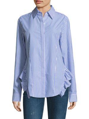 PETERSYN Gretchen Striped Asymmetric Poplin Shirt in Blue