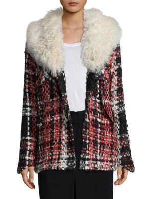 'Antoine' Shearling Collar Check Plaid Tweed Jacket, Red Multi