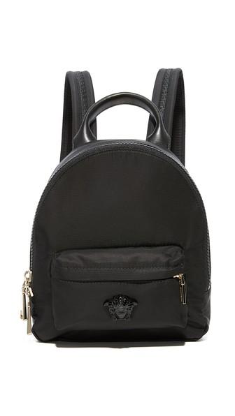 Mini Nylon Palazzo Backpack, Nero