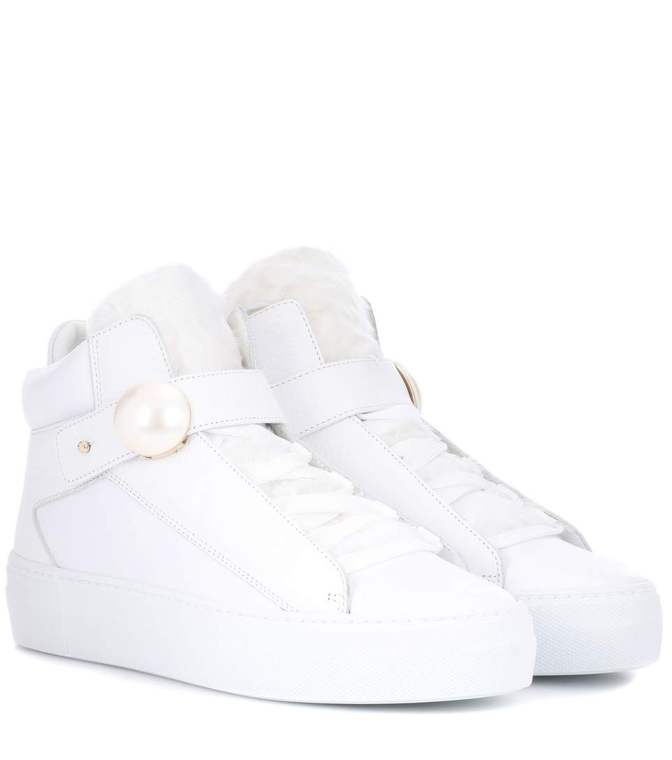 White Pearlogy High-Top Sneakers