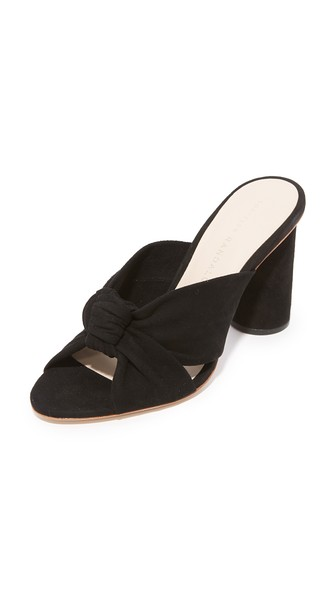 Coco Knotted Suede Block-Heel Slide Sandal in Black
