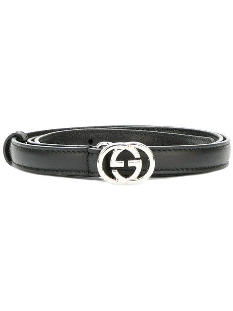 Leather Square-Buckle Horsebit Belt in Black