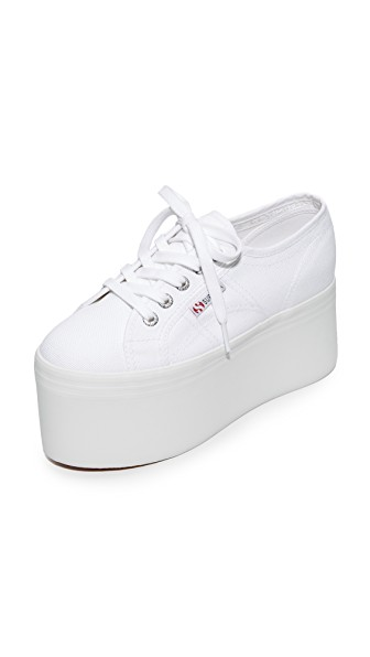SUPERGA &Reg; Woman Canvas Platform Espadrille Sneakers White