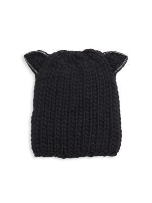 Felix Cat Ears Wool Knit Beanie - Black