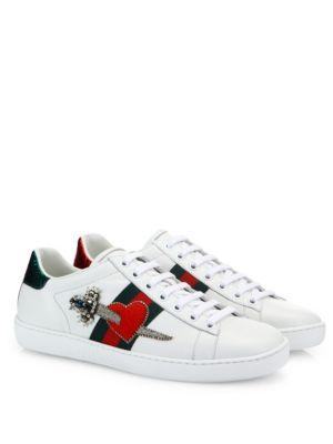 Appliquéd Embellished Leather Sneakers in White