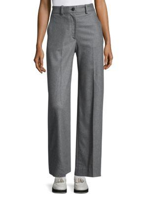 Crane High-Rise Wool-Blend Tailored Pants, Heather Grey