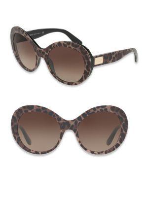 Dolce & Gabbana 57Mm Leopard-Print Oval Sunglasses, Brown Pattern