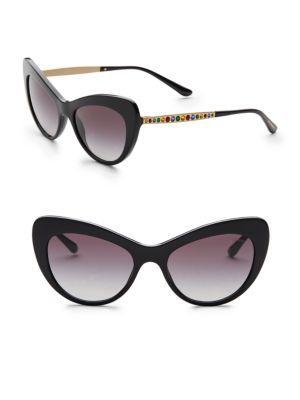 Dolce Gabbana Logo Plaque Acetate Cat Eye Sunglasses In Black Gold