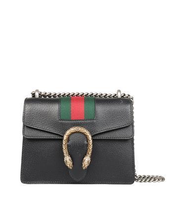 GUCCI Dionysus Mini Textured-Leather Shoulder Bag in Black