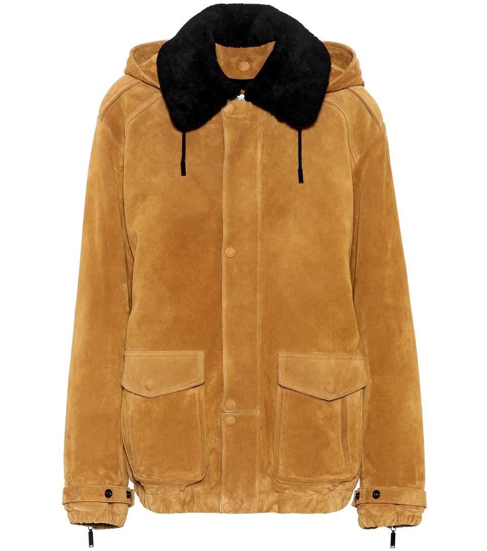 Fur-Trimmed Suede Jacket, Brown
