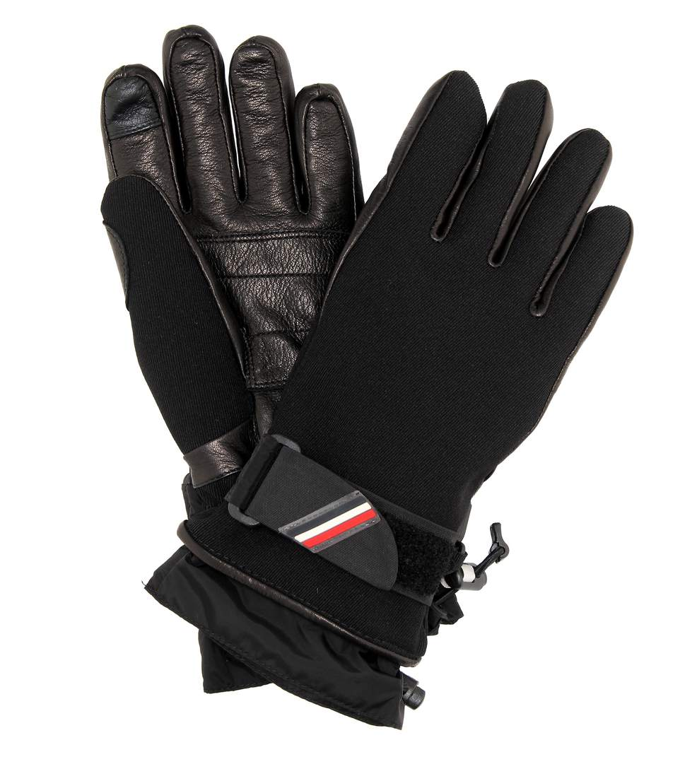 Technical Gloves W/ Leather in Black