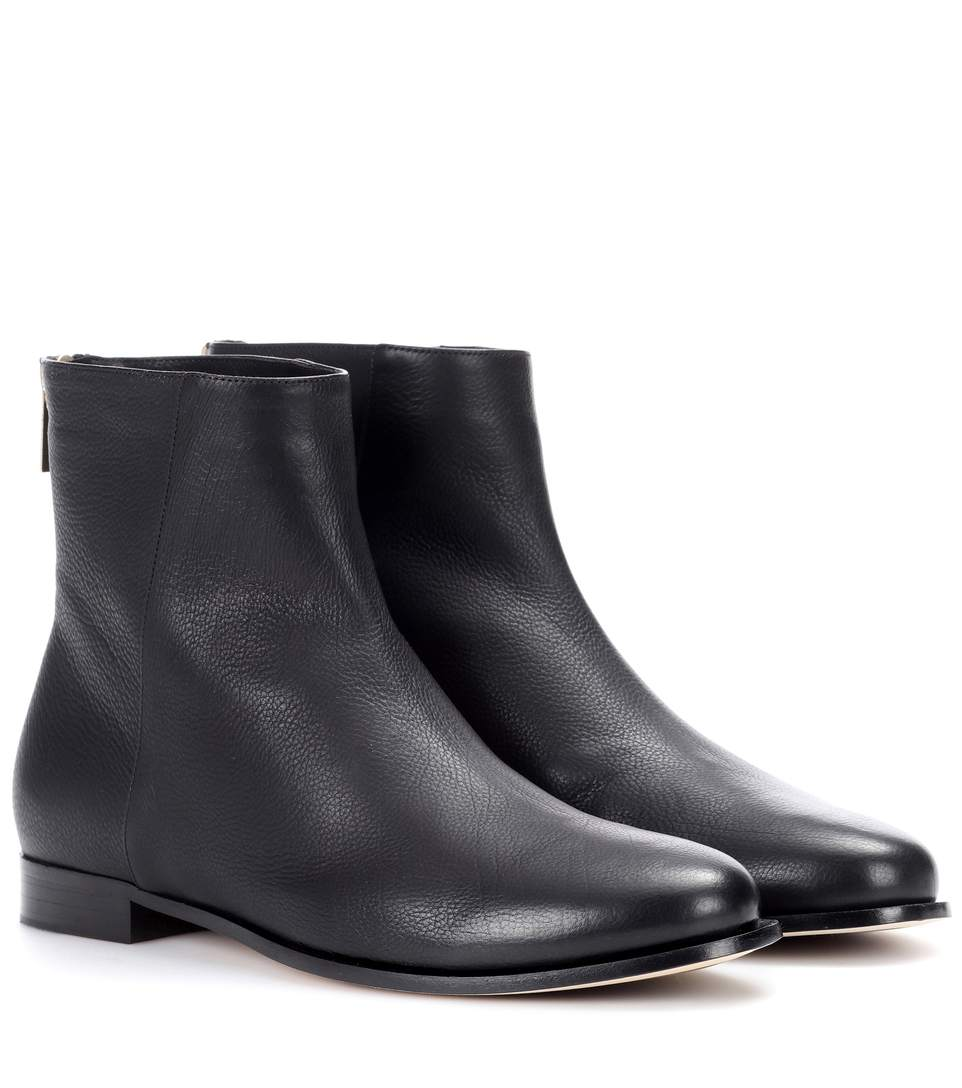 Duke Leather Ankle Boots in Black