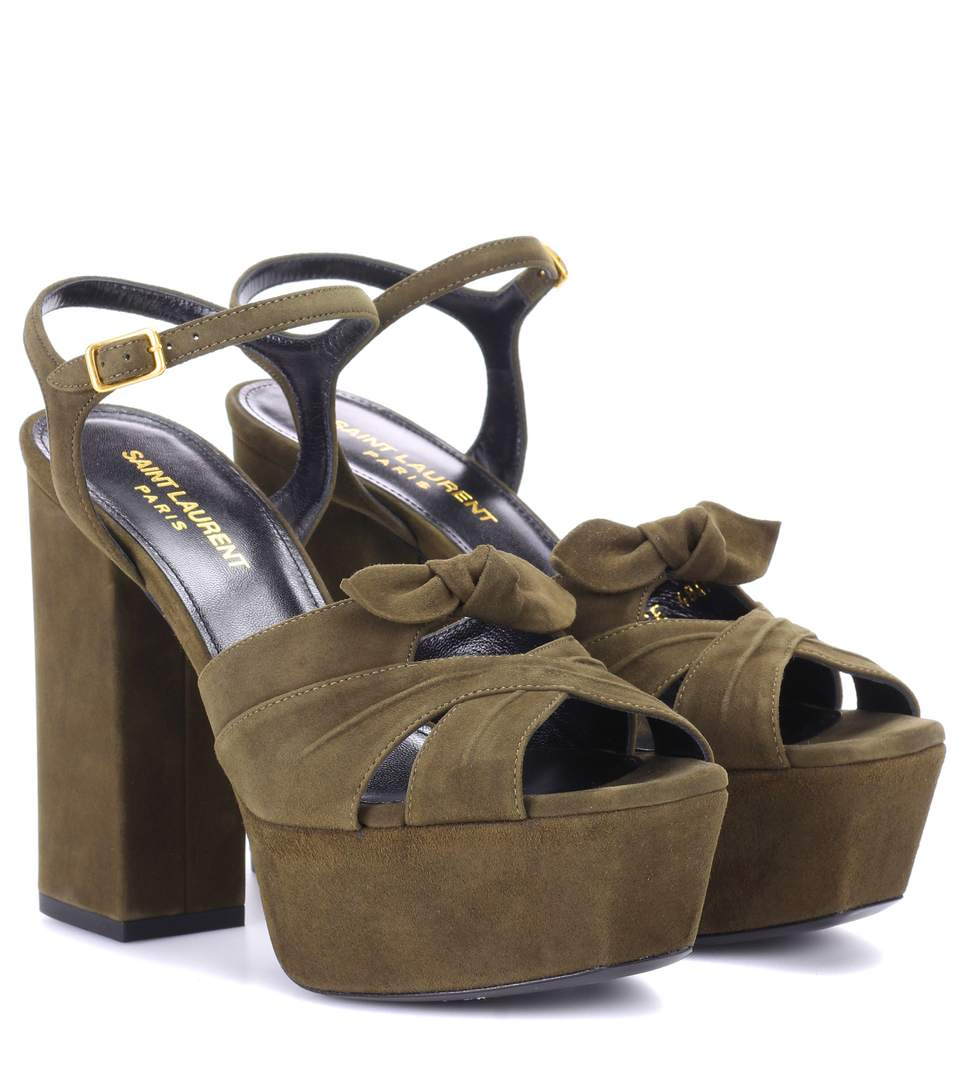 Farrah 80 Suede Plateau Sandals in Green