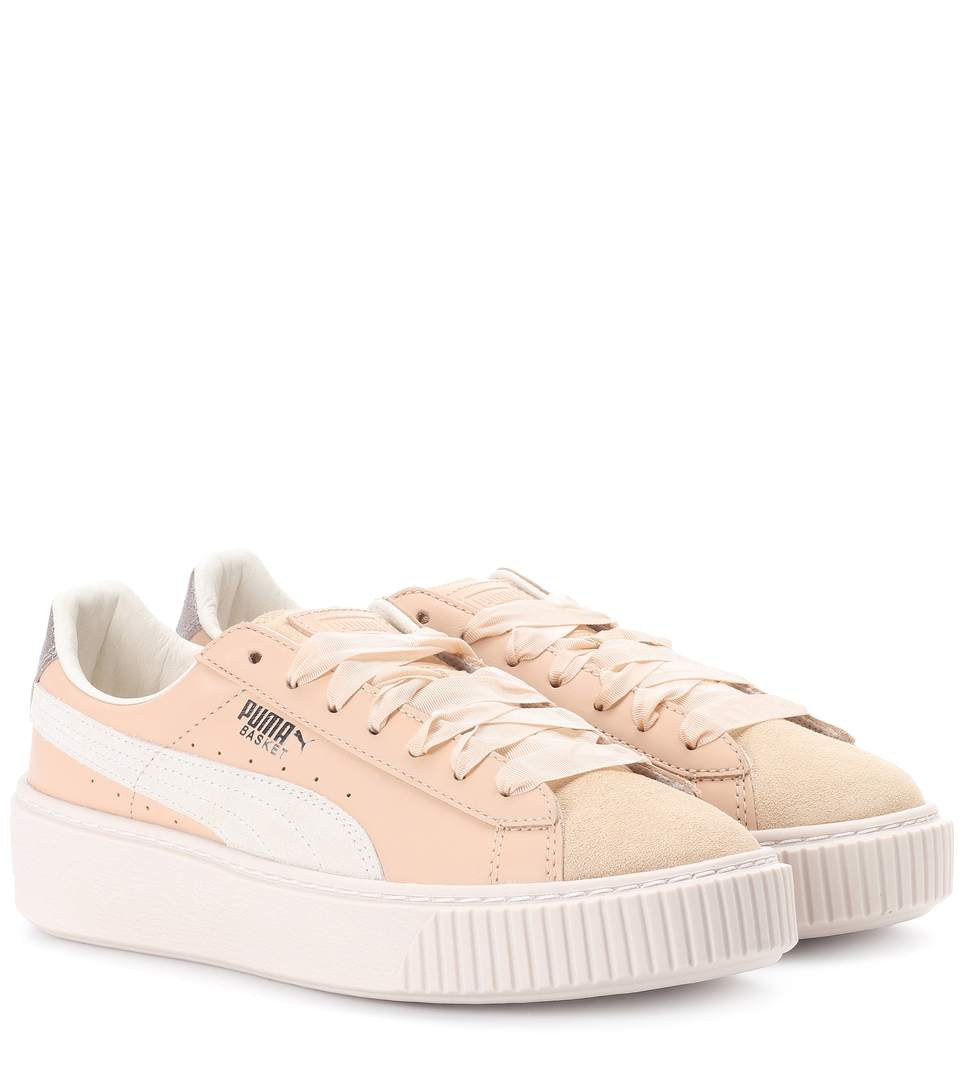 Platform Leather Sneakers in Pink