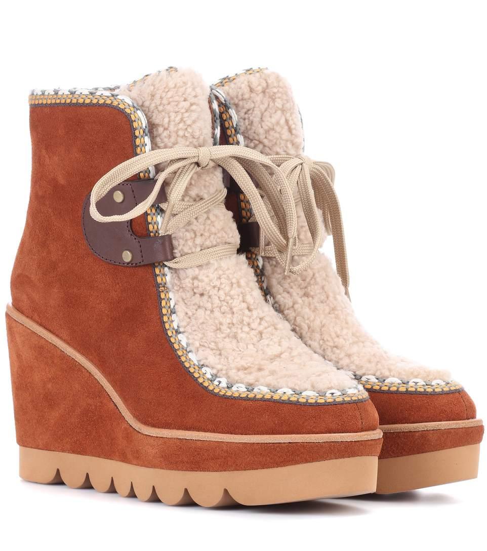 SEE BY CHLOÉ See By Chloe Women'S Klaudia Suede & Shearling Platform Wedge  Booties, ...