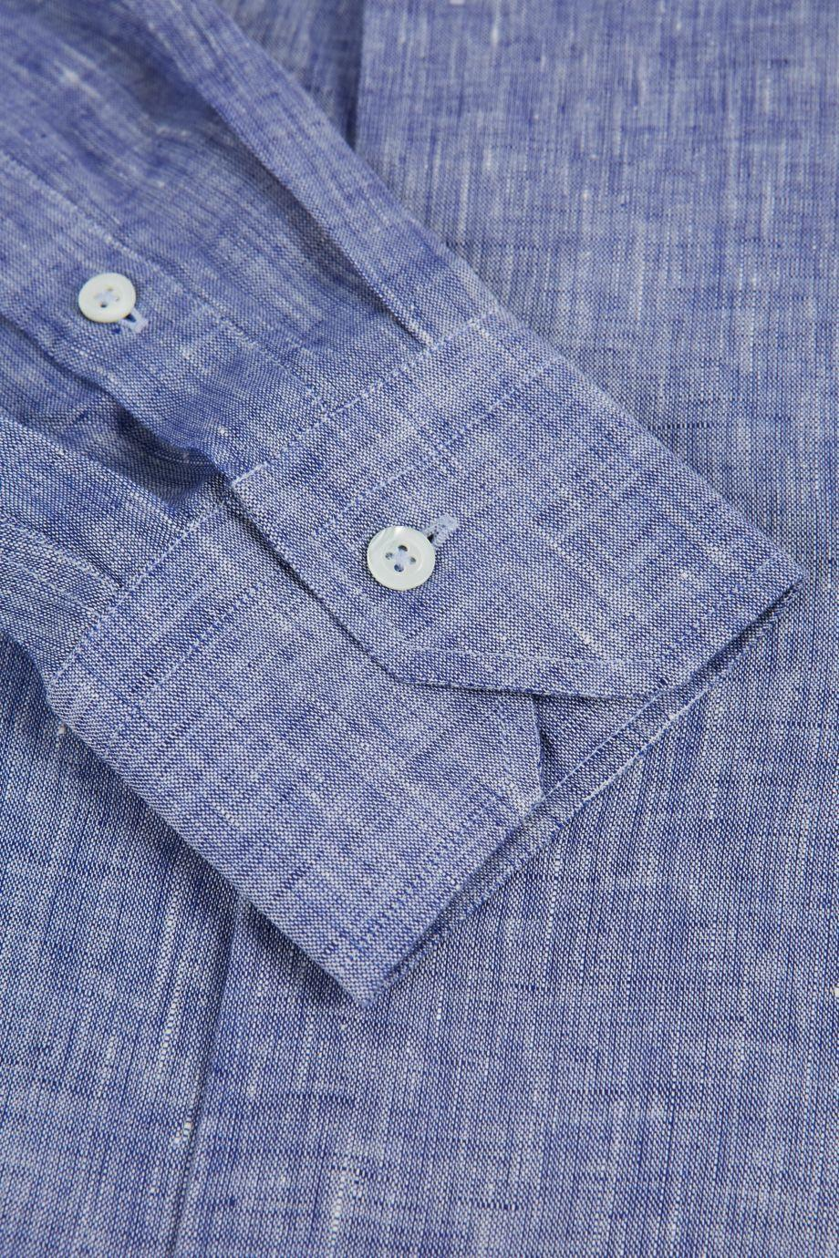 FRESCOBOL CARIOCA Slim-Fit Linen Button-Up Shirt in Blue