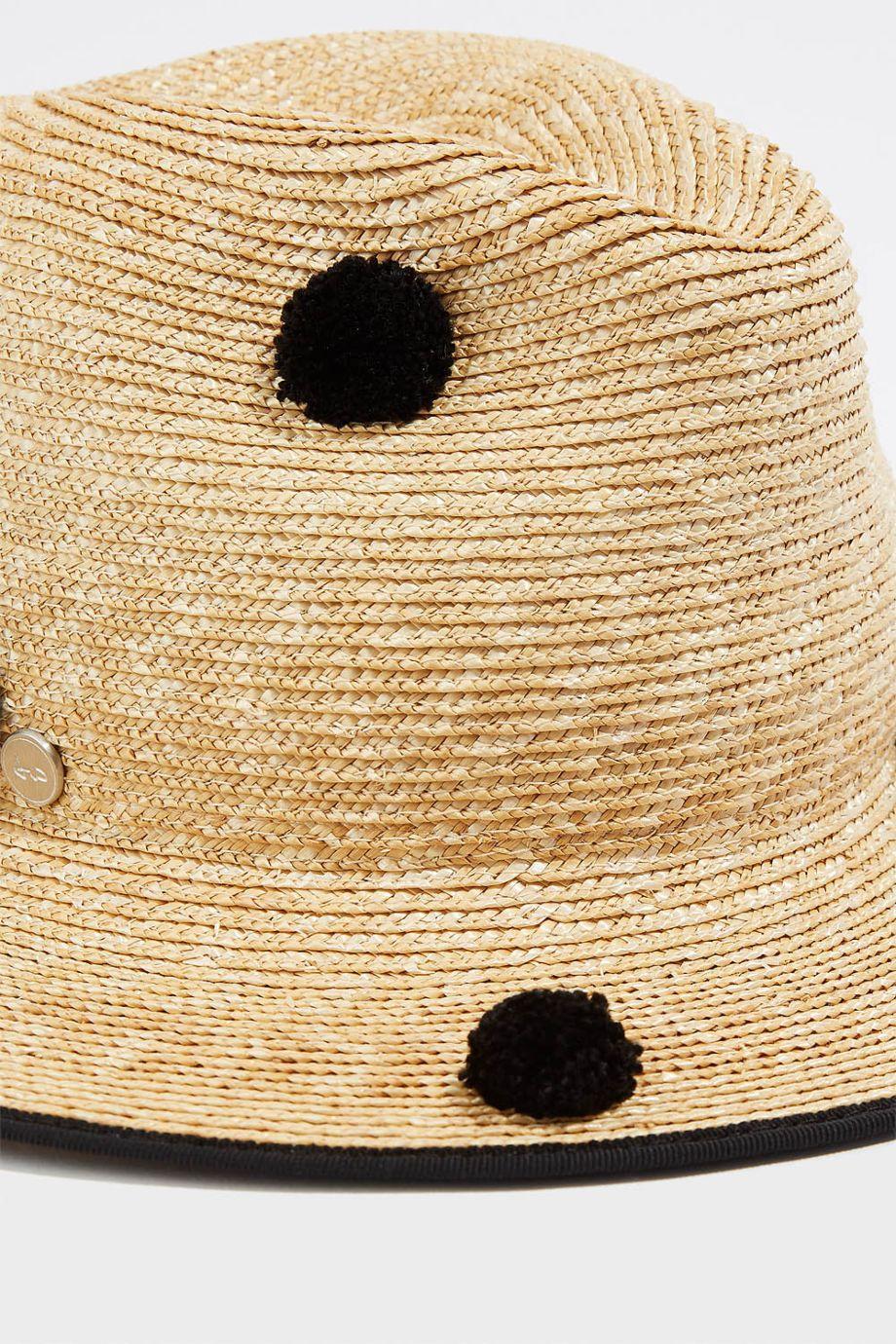 Tracy Watts Tenerife Pompom-Embellished Straw Fedora In Sand ... 951663cb15b